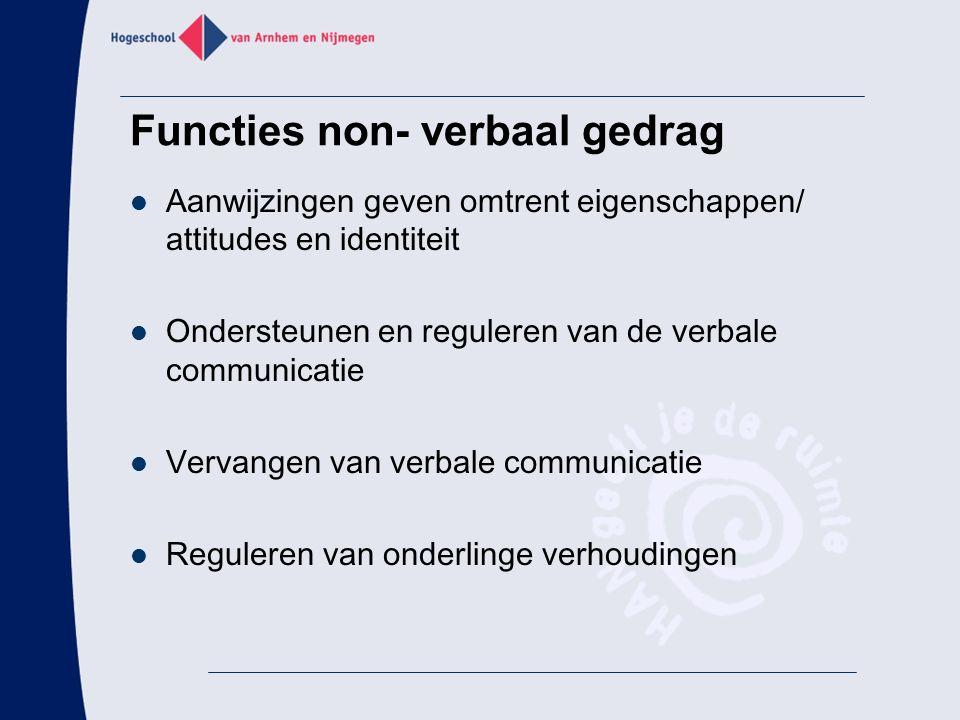 Functies non- verbaal gedrag Aanwijzingen geven omtrent eigenschappen/ attitudes en identiteit Ondersteunen en reguleren van de verbale communicatie V
