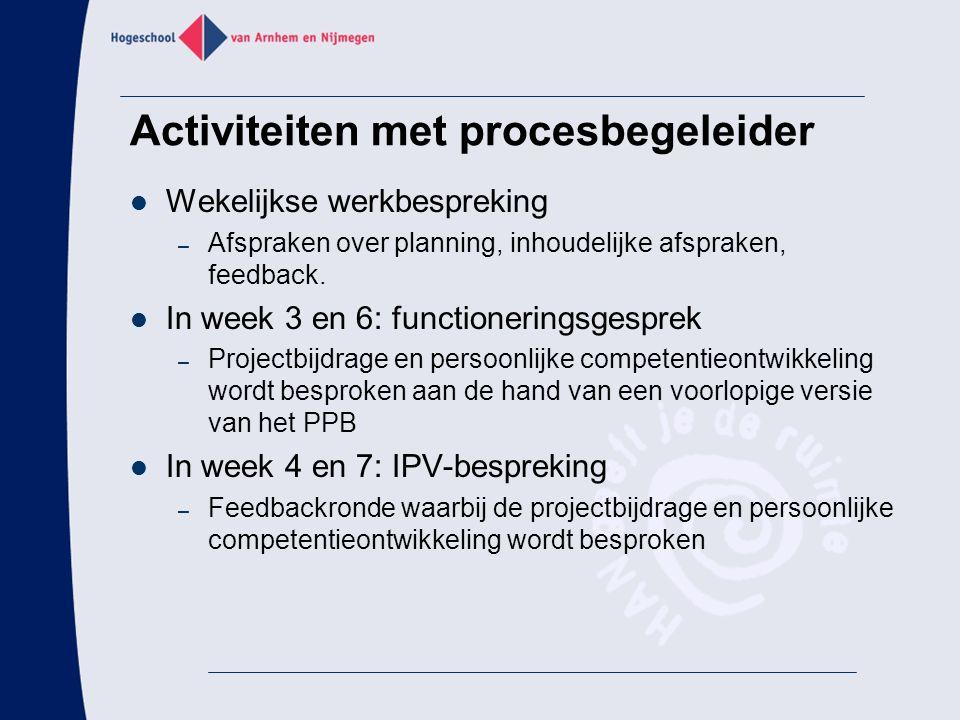 Activiteiten met procesbegeleider Wekelijkse werkbespreking – Afspraken over planning, inhoudelijke afspraken, feedback. In week 3 en 6: functionering
