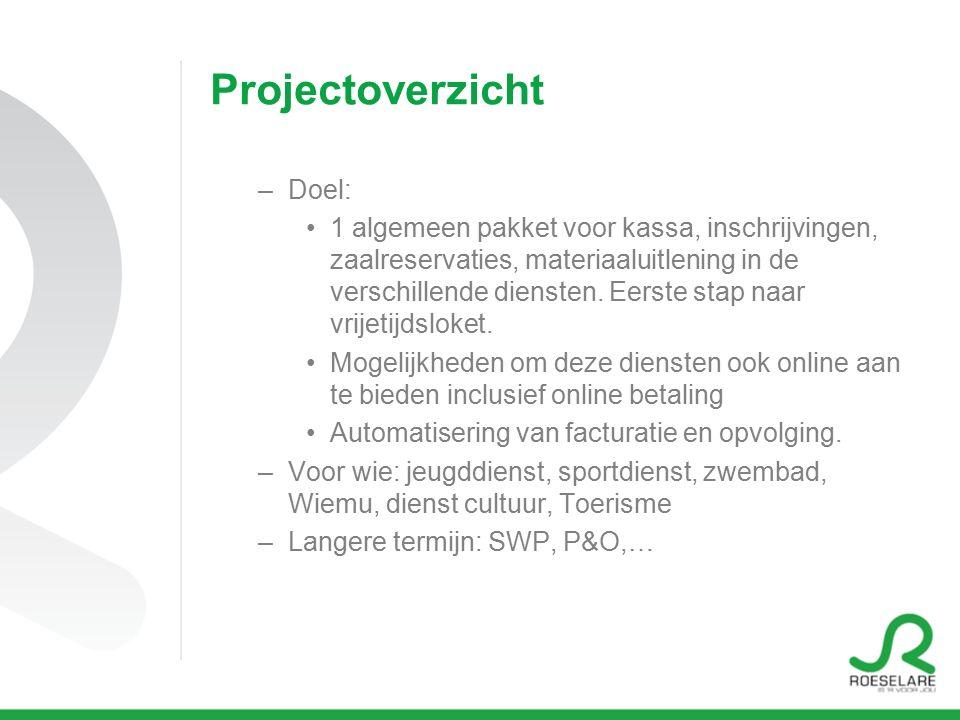 Projectoverzicht –Doel: 1 algemeen pakket voor kassa, inschrijvingen, zaalreservaties, materiaaluitlening in de verschillende diensten.