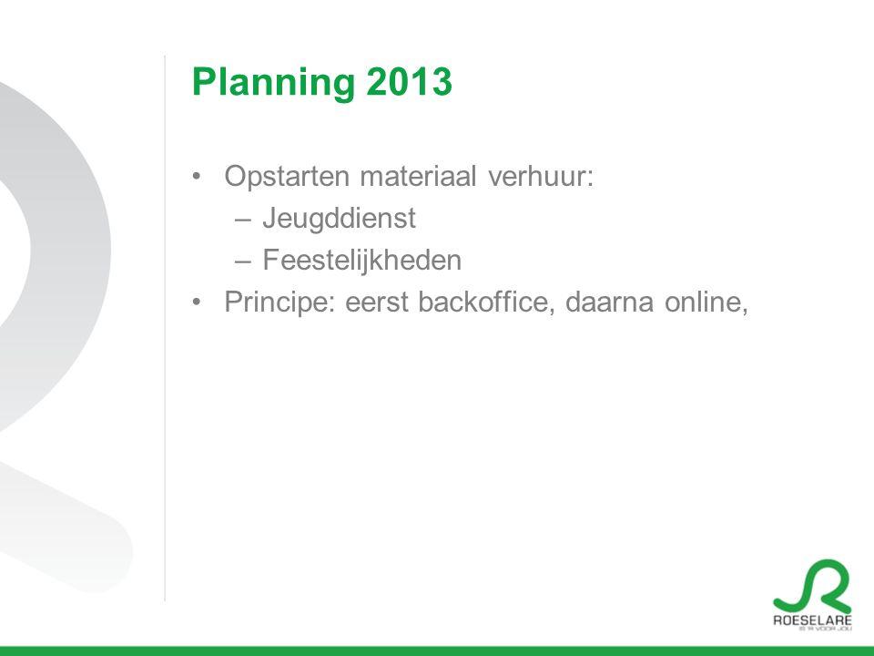 Planning 2013 Opstarten materiaal verhuur: –Jeugddienst –Feestelijkheden Principe: eerst backoffice, daarna online,