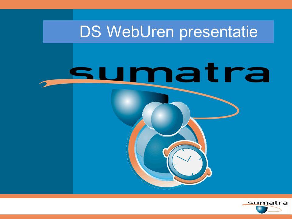 DS WebUren Sumatra DS WebUren is een Webbased urenregistratie oplossing, waarmee (externe) medewerkers op een snelle en gebruiksvriendelijke wijze hun uren kunnen invoeren.