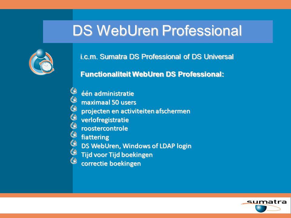 Via Sumatra DS Universal kunnen alle relevante rapporten binnen DS WebUren beschikbaar gesteld worden.