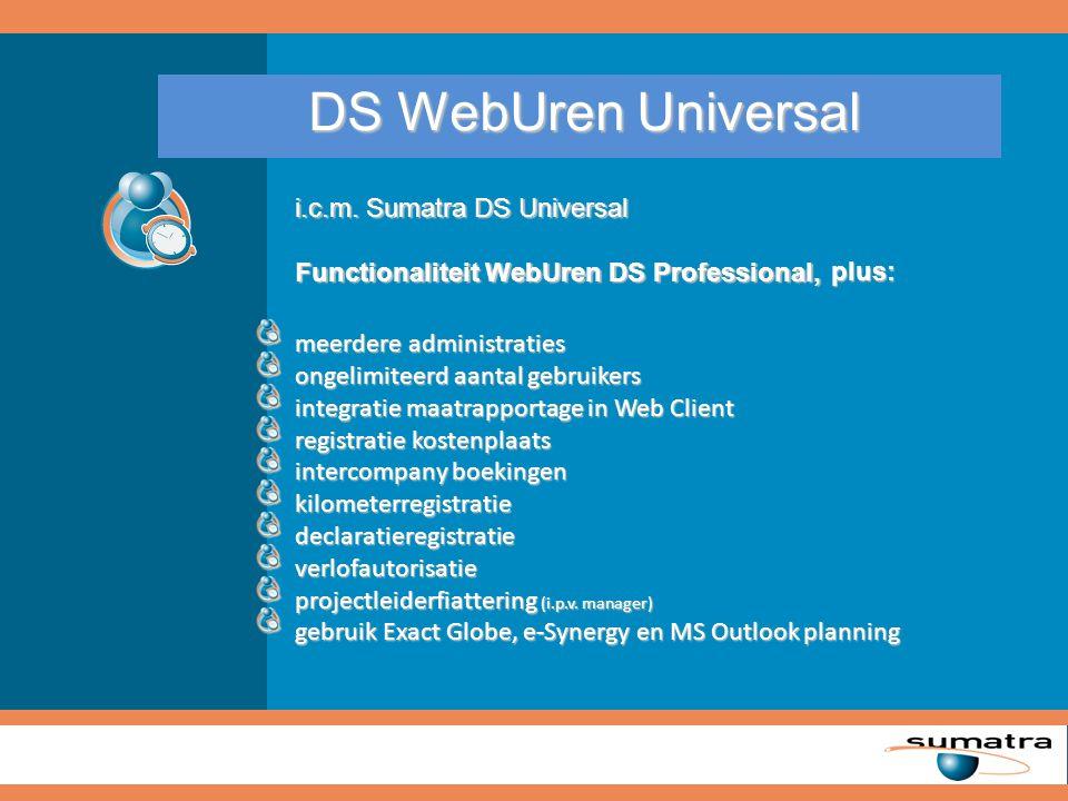 Samenvatting DS WebUren* volledig Webbased volledig Webbased snelle en gebruiksvriendelijke invoer snelle en gebruiksvriendelijke invoer geïntegreerde maatrapportages (DS Universal benodigd) geïntegreerde maatrapportages (DS Universal benodigd) ongelimiteerd aantal gebruikers (geen onderhoud per user) ongelimiteerd aantal gebruikers (geen onderhoud per user) ongelimiteerd aantal administraties (geen extra kosten per administratie) ongelimiteerd aantal administraties (geen extra kosten per administratie) gebruik Exact Globe, e-Synergy en MS Outlook planning gebruik Exact Globe, e-Synergy en MS Outlook planning registratie kostenplaats /-drager, kilometers, declaraties en verlof registratie kostenplaats /-drager, kilometers, declaraties en verlof beheer stamgegevens vanuit Exact Globe beheer stamgegevens vanuit Exact Globe alle mutaties bijgehouden in Exact Globe (en dus niet in een externe applicatie) alle mutaties bijgehouden in Exact Globe (en dus niet in een externe applicatie) Meer dan 5.000 tevreden gebruikers * Gebaseerd op Sumatra DS in combinatie met DS WebUren