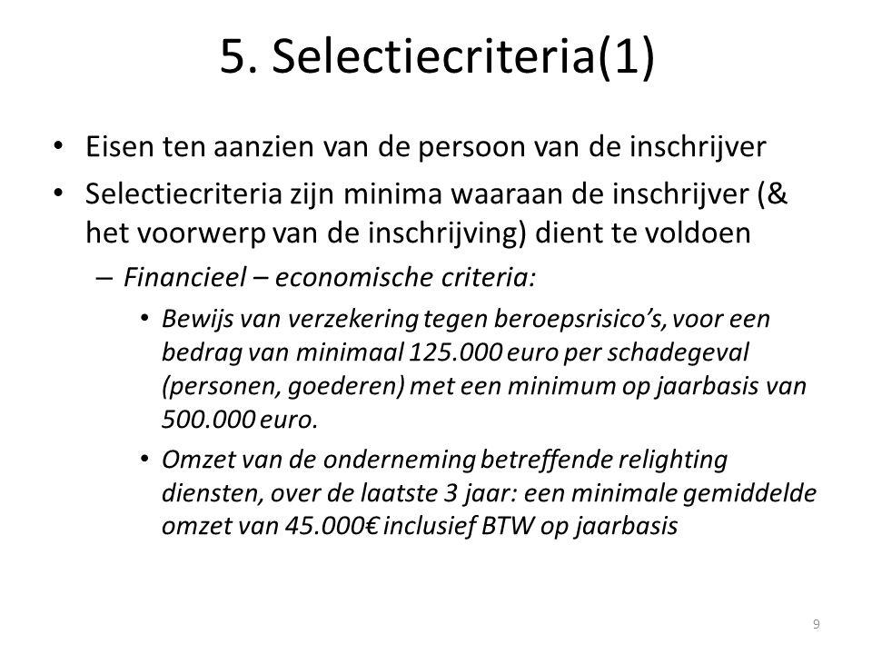 Eisen ten aanzien van de persoon van de inschrijver Selectiecriteria zijn minima waaraan de inschrijver (& het voorwerp van de inschrijving) dient te voldoen – Financieel – economische criteria: Bewijs van verzekering tegen beroepsrisico's, voor een bedrag van minimaal 125.000 euro per schadegeval (personen, goederen) met een minimum op jaarbasis van 500.000 euro.