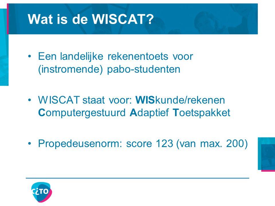 Informatie over de WISCAT Domein Rekenen Wiskunde