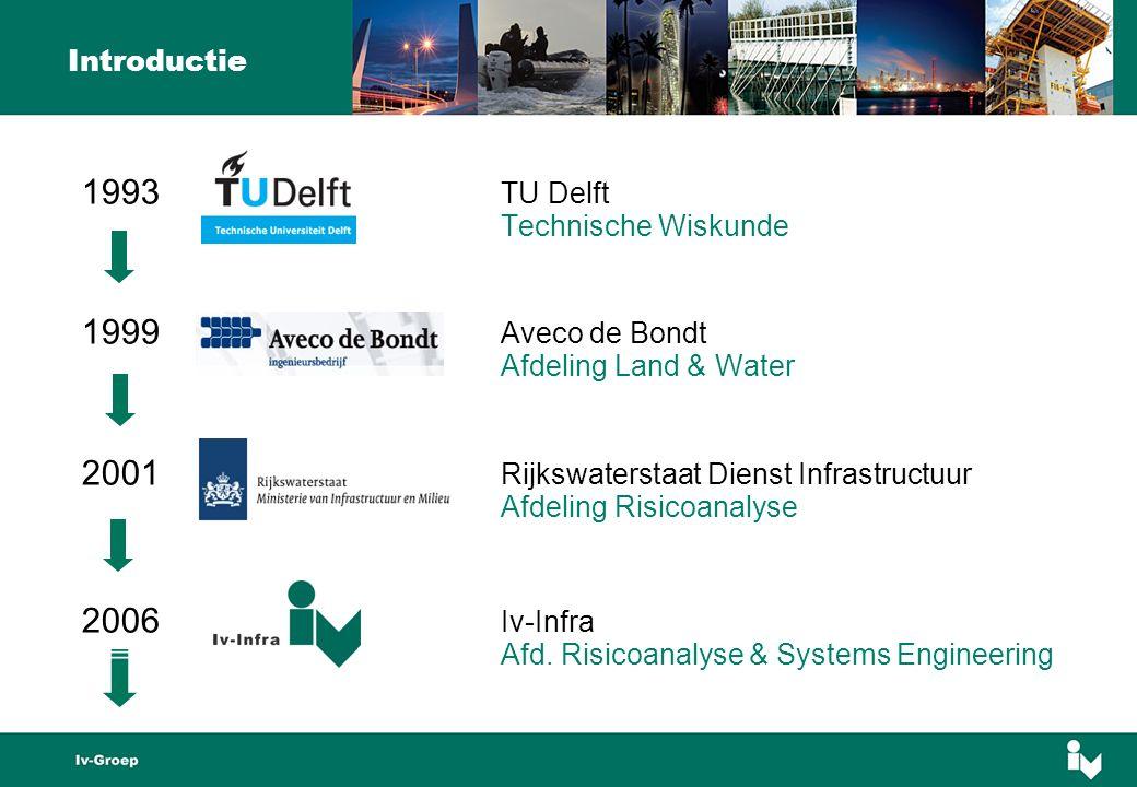 1993 TU Delft Technische Wiskunde 1999 Aveco de Bondt Afdeling Land & Water 2001 Rijkswaterstaat Dienst Infrastructuur Afdeling Risicoanalyse 2006 Iv-Infra Afd.