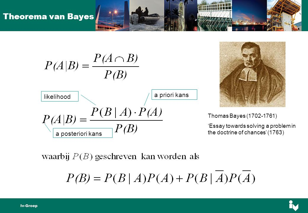 Thomas Bayes (1702-1761) 'Essay towards solving a problem in the doctrine of chances' (1763) a priori kans likelihood a posteriori kans Theorema van Bayes