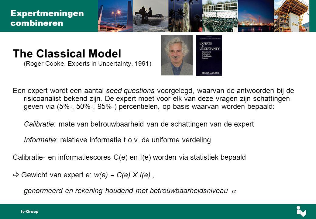 The Classical Model (Roger Cooke, Experts in Uncertainty, 1991) Een expert wordt een aantal seed questions voorgelegd, waarvan de antwoorden bij de risicoanalist bekend zijn.