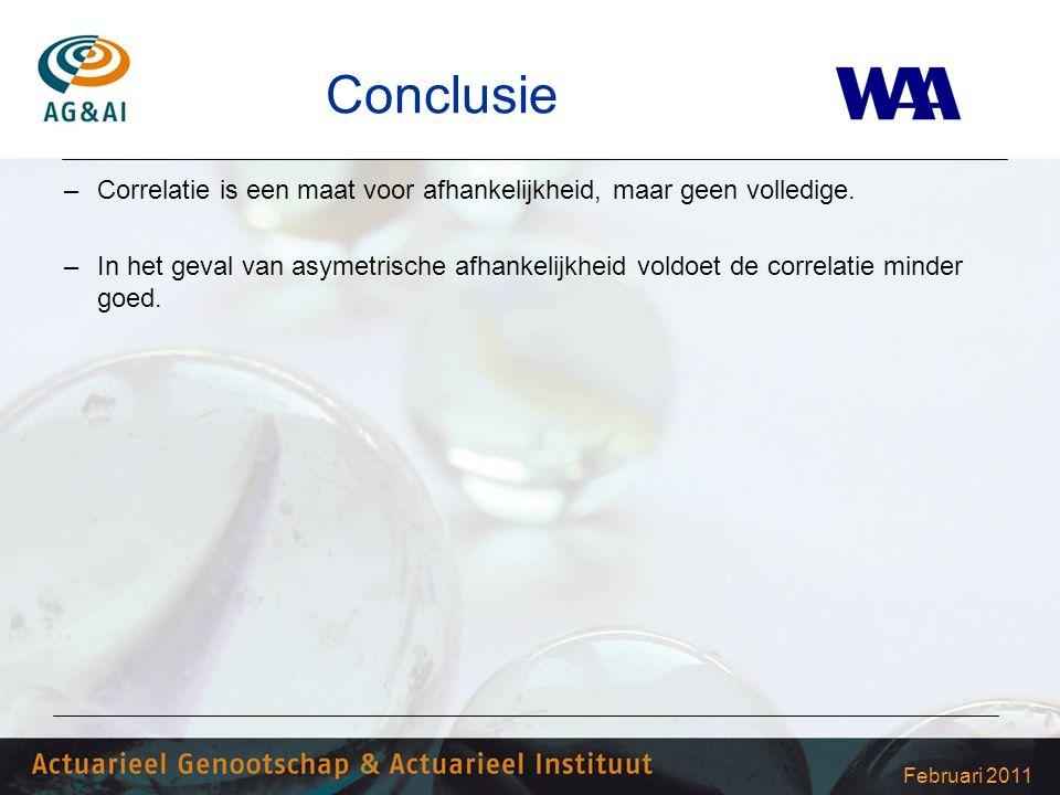 Februari 2011 Conclusie –Correlatie is een maat voor afhankelijkheid, maar geen volledige. –In het geval van asymetrische afhankelijkheid voldoet de c