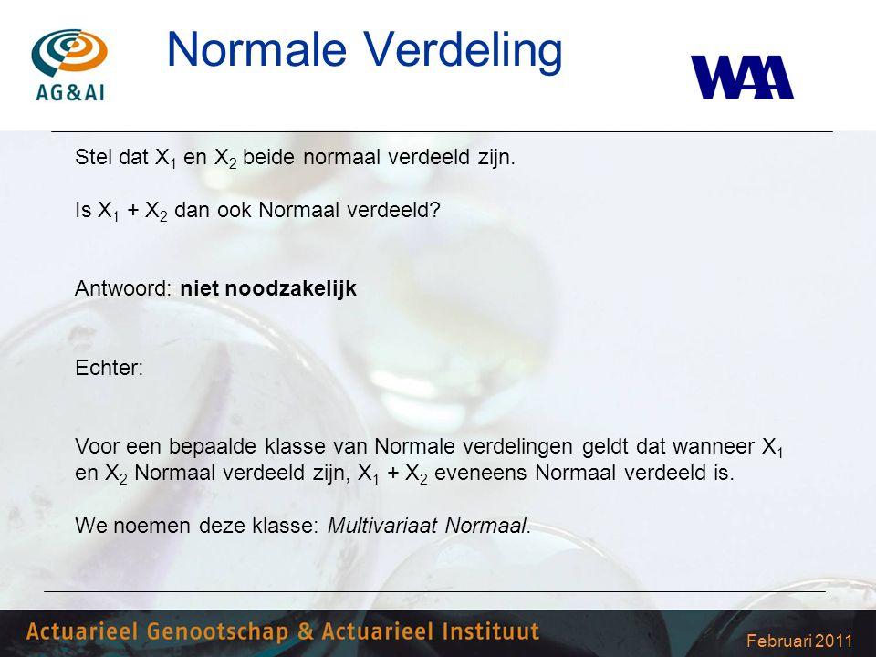 Februari 2011 Normale Verdeling Stel dat X 1 en X 2 beide normaal verdeeld zijn. Is X 1 + X 2 dan ook Normaal verdeeld? Antwoord: niet noodzakelijk Ec