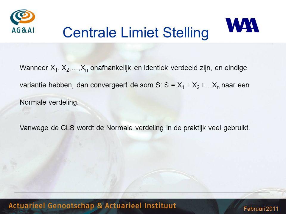Februari 2011 Centrale Limiet Stelling Wanneer X 1, X 2,…,X n onafhankelijk en identiek verdeeld zijn, en eindige variantie hebben, dan convergeert de