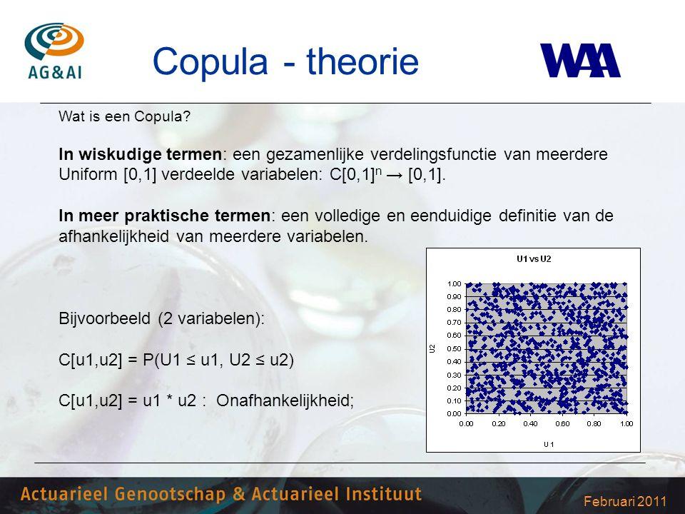 Februari 2011 Copula - theorie Wat is een Copula? In wiskudige termen: een gezamenlijke verdelingsfunctie van meerdere Uniform [0,1] verdeelde variabe