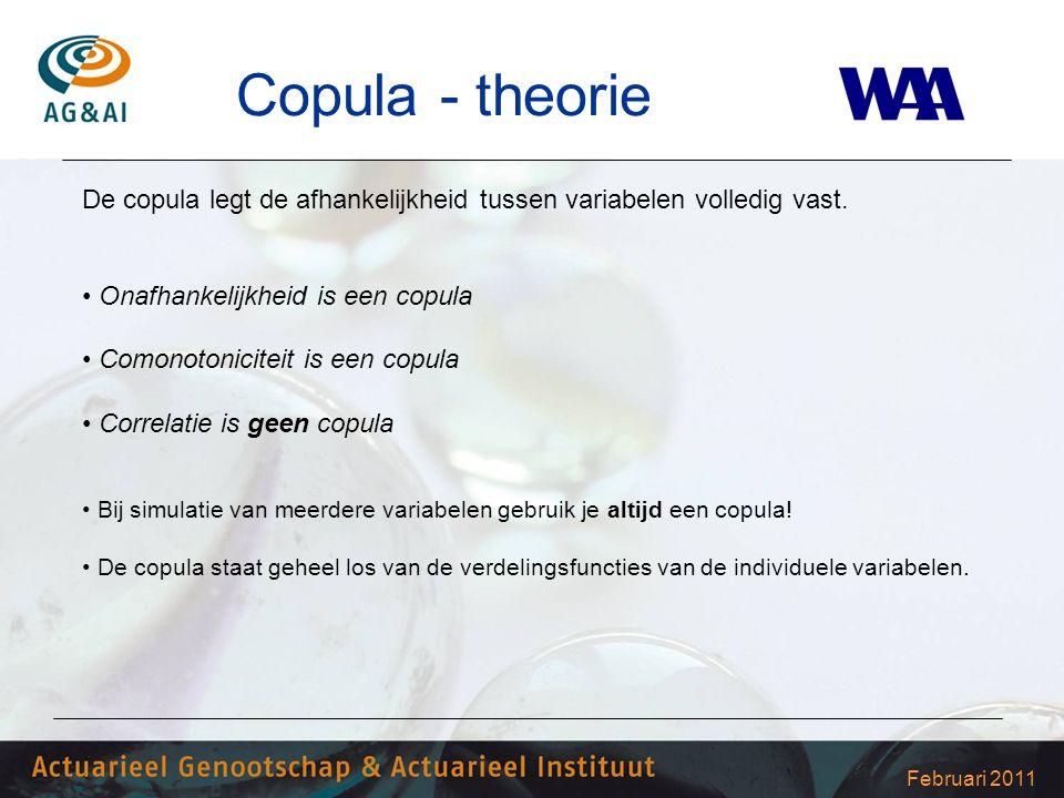 Februari 2011 Copula - theorie De copula legt de afhankelijkheid tussen variabelen volledig vast. Onafhankelijkheid is een copula Comonotoniciteit is