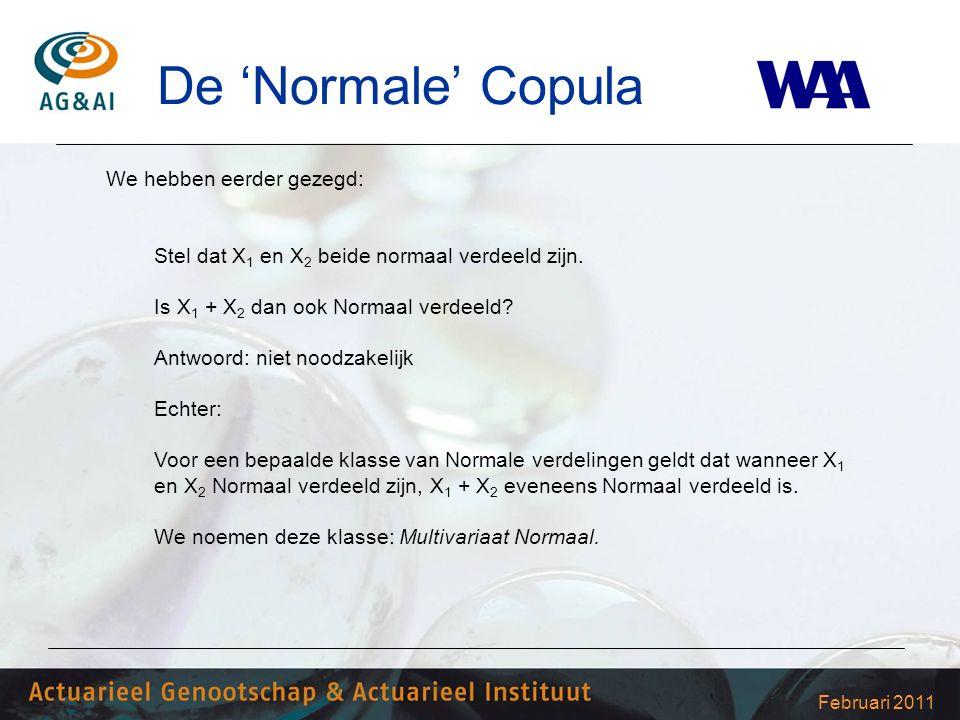 Februari 2011 De 'Normale' Copula We hebben eerder gezegd: Stel dat X 1 en X 2 beide normaal verdeeld zijn. Is X 1 + X 2 dan ook Normaal verdeeld? Ant