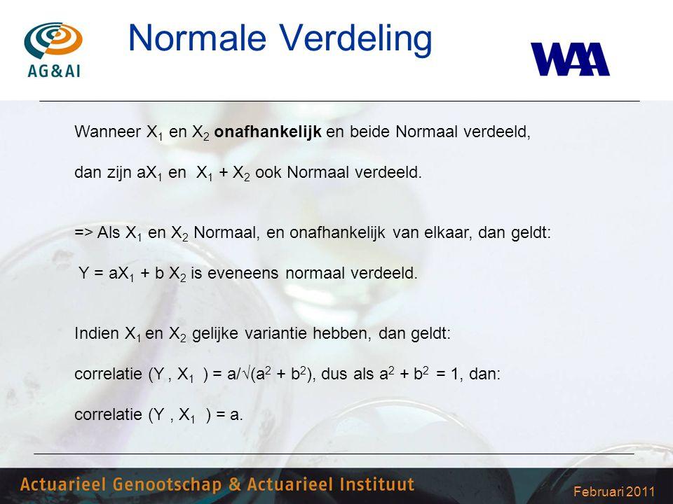 Februari 2011 Normale Verdeling Wanneer X 1 en X 2 onafhankelijk en beide Normaal verdeeld, dan zijn aX 1 en X 1 + X 2 ook Normaal verdeeld. => Als X