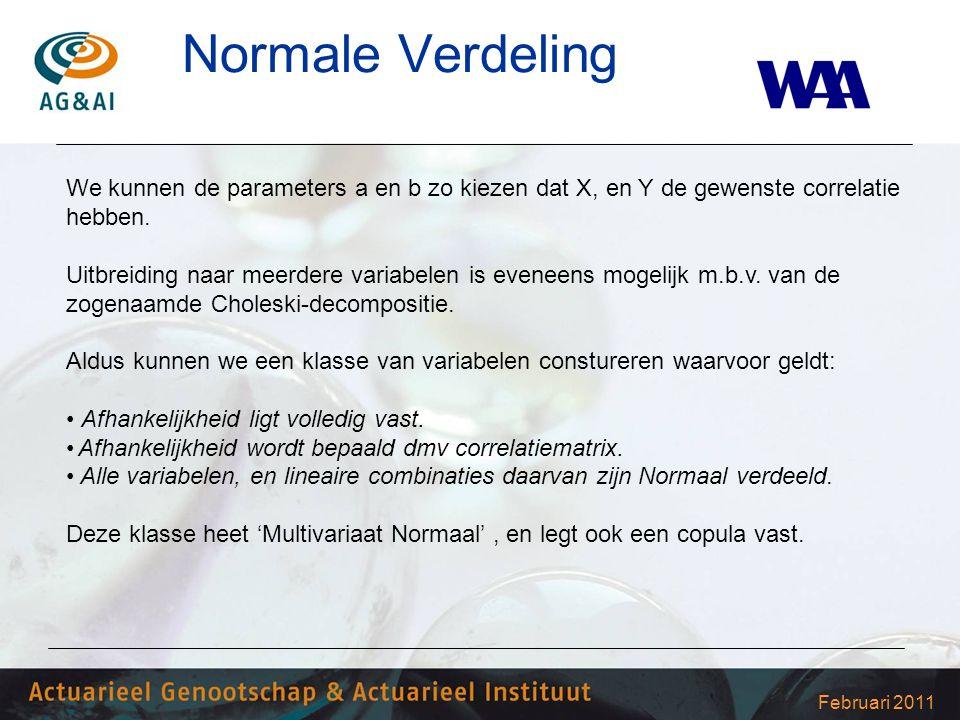 Februari 2011 Normale Verdeling We kunnen de parameters a en b zo kiezen dat X, en Y de gewenste correlatie hebben. Uitbreiding naar meerdere variabel