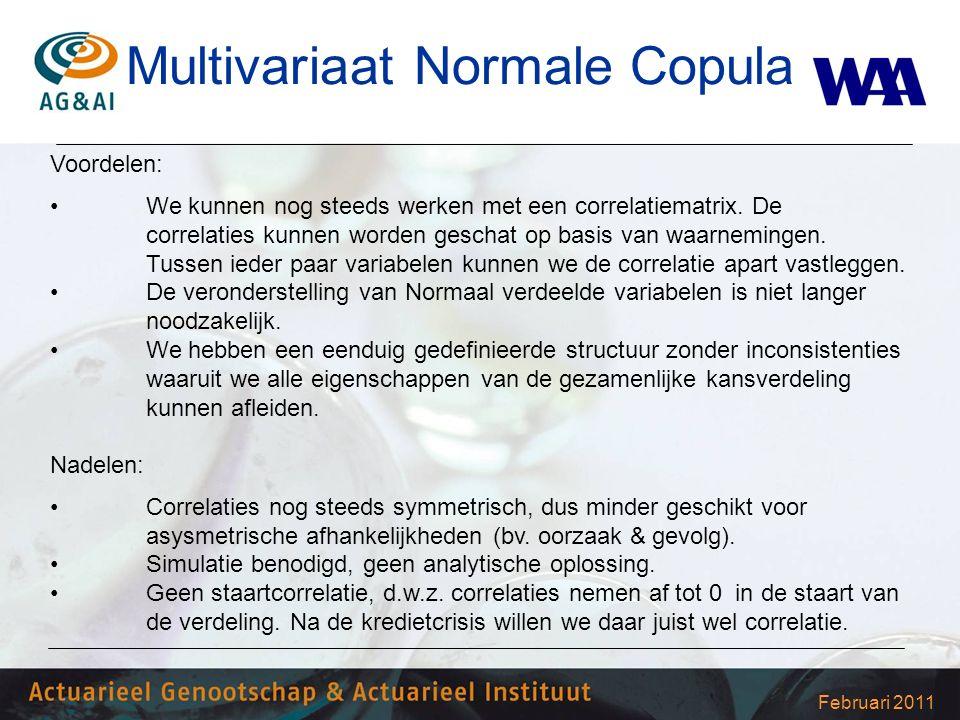 Februari 2011 Multivariaat Normale Copula Voordelen: We kunnen nog steeds werken met een correlatiematrix. De correlaties kunnen worden geschat op bas