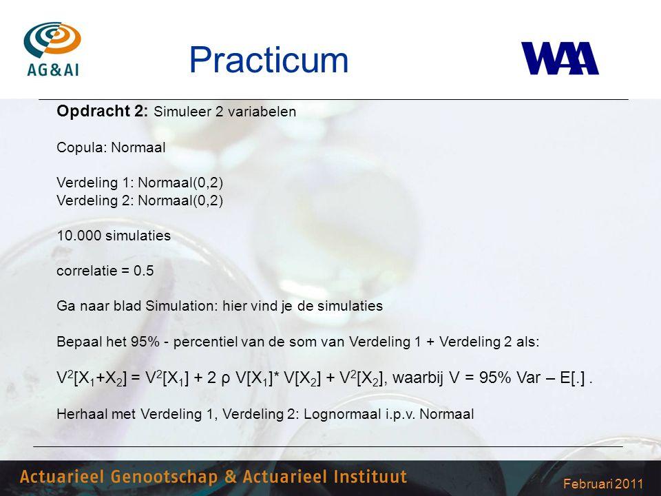 Februari 2011 Practicum Opdracht 2: Simuleer 2 variabelen Copula: Normaal Verdeling 1: Normaal(0,2) Verdeling 2: Normaal(0,2) 10.000 simulaties correlatie = 0.5 Ga naar blad Simulation: hier vind je de simulaties Bepaal het 95% - percentiel van de som van Verdeling 1 + Verdeling 2 als: V 2 [X 1 +X 2 ] = V 2 [X 1 ] + 2 ρ V[X 1 ]* V[X 2 ] + V 2 [X 2 ], waarbij V = 95% Var – E[.].