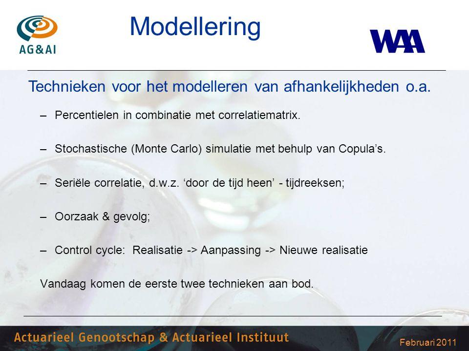 Februari 2011 Modellering –Percentielen in combinatie met correlatiematrix. –Stochastische (Monte Carlo) simulatie met behulp van Copula's. –Seriële c