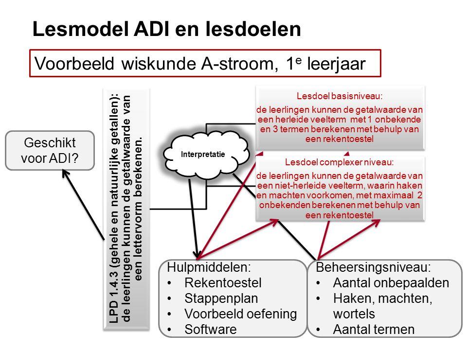 Lesmodel ADI en lesdoelen Voorbeeld wiskunde A-stroom, 1 e leerjaar LPD 1.4.3 (gehele en natuurlijke getallen): de leerlingen kunnen de getalwaarde van een lettervorm berekenen.