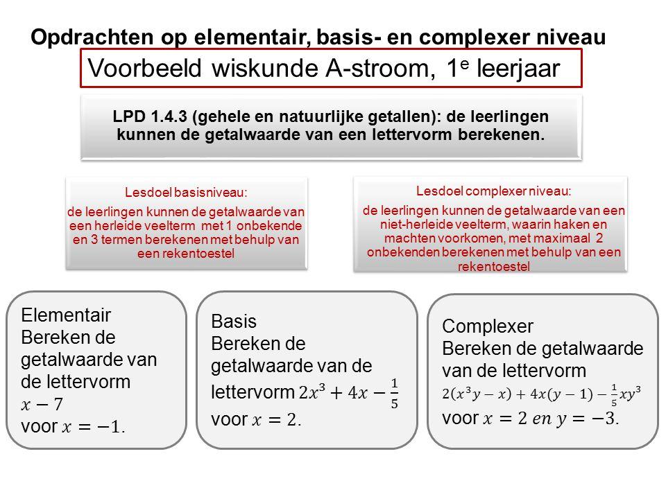 Opdrachten op elementair, basis- en complexer niveau Voorbeeld wiskunde A-stroom, 1 e leerjaar Lesdoel basisniveau: de leerlingen kunnen de getalwaarde van een herleide veelterm met 1 onbekende en 3 termen berekenen met behulp van een rekentoestel Lesdoel complexer niveau: de leerlingen kunnen de getalwaarde van een niet-herleide veelterm, waarin haken en machten voorkomen, met maximaal 2 onbekenden berekenen met behulp van een rekentoestel LPD 1.4.3 (gehele en natuurlijke getallen): de leerlingen kunnen de getalwaarde van een lettervorm berekenen.