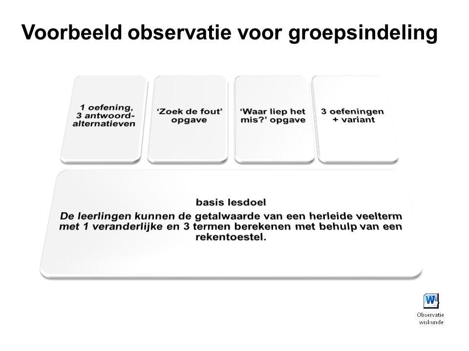 Voorbeeld observatie voor groepsindeling