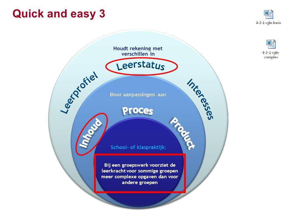 Quick and easy 3 Bij een groepswerk voorziet de leerkracht voor sommige groepen meer complexe opgaven dan voor andere groepen