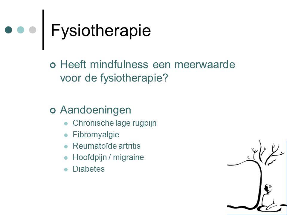 Fysiotherapie Heeft mindfulness een meerwaarde voor de fysiotherapie? Aandoeningen Chronische lage rugpijn Fibromyalgie Reumatoïde artritis Hoofdpijn