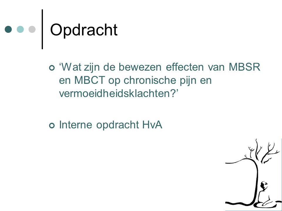 Opdracht 'Wat zijn de bewezen effecten van MBSR en MBCT op chronische pijn en vermoeidheidsklachten?' Interne opdracht HvA