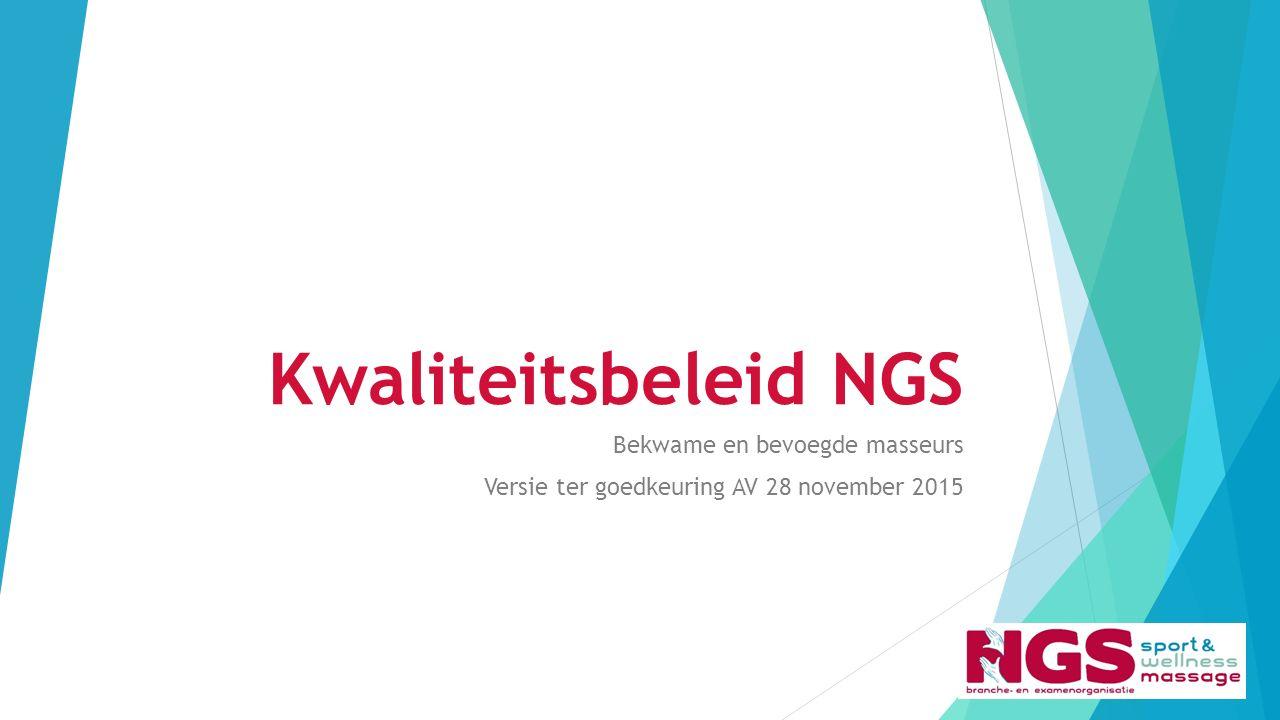 Kwaliteitsbeleid NGS Bekwame en bevoegde masseurs Versie ter goedkeuring AV 28 november 2015