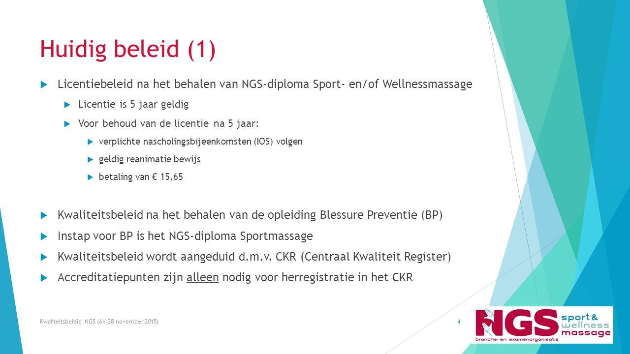 Huidig beleid (1)  Licentiebeleid na het behalen van NGS-diploma Sport- en/of Wellnessmassage  Licentie is 5 jaar geldig  Voor behoud van de licent