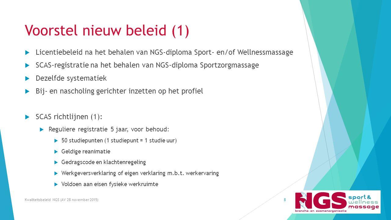Voorstel nieuw beleid (1)  Licentiebeleid na het behalen van NGS-diploma Sport- en/of Wellnessmassage  SCAS-registratie na het behalen van NGS-diplo