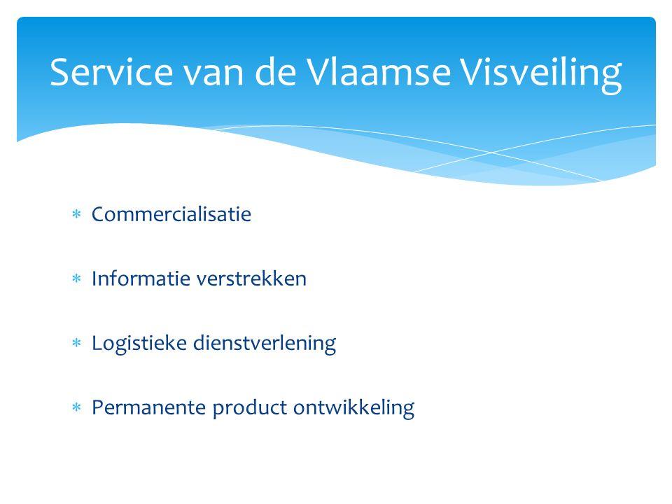  Commercialisatie  Informatie verstrekken  Logistieke dienstverlening  Permanente product ontwikkeling Service van de Vlaamse Visveiling