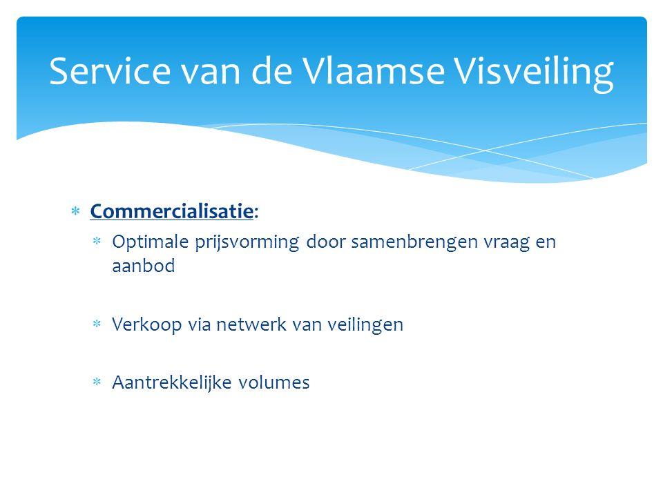  Commercialisatie:  Uitgebreid koperspubliek  Optimalisatie van aanvoer in functie van de noden  Actieve prospectie van nieuwe klanten  Bemiddeling bij verkoop  Facturatie met garantie van betaling Service van de Vlaamse Visveiling