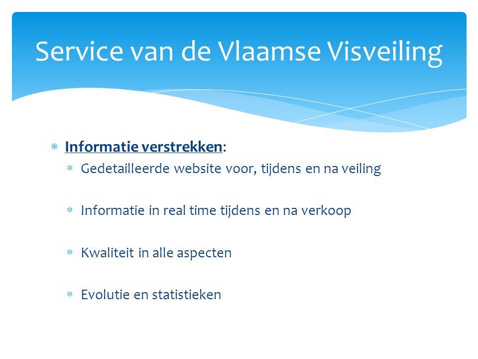  Informatie verstrekken:  Gedetailleerde website voor, tijdens en na veiling  Informatie in real time tijdens en na verkoop  Kwaliteit in alle aspecten  Evolutie en statistieken Service van de Vlaamse Visveiling