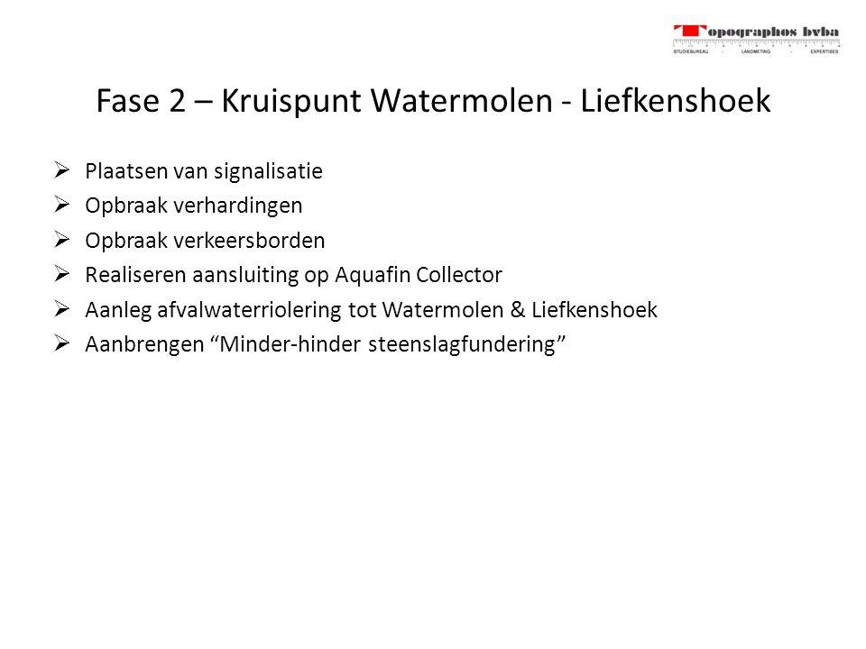 Fase 2 – Kruispunt Watermolen - Liefkenshoek  Plaatsen van signalisatie  Opbraak verhardingen  Opbraak verkeersborden  Realiseren aansluiting op A