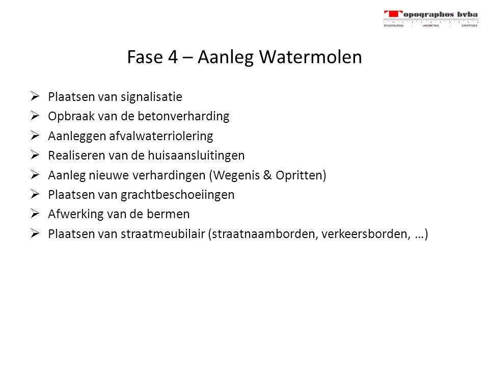 Fase 4 – Aanleg Watermolen  Plaatsen van signalisatie  Opbraak van de betonverharding  Aanleggen afvalwaterriolering  Realiseren van de huisaanslu