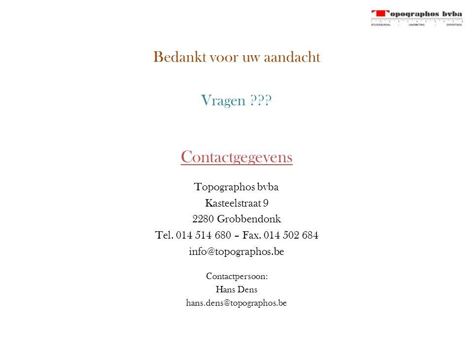 Bedankt voor uw aandacht Contactgegevens Topographos bvba Kasteelstraat 9 2280 Grobbendonk Tel.