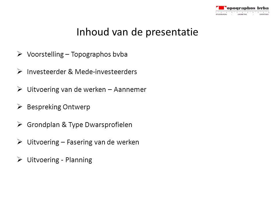 Inhoud van de presentatie  Voorstelling – Topographos bvba  Investeerder & Mede-investeerders  Uitvoering van de werken – Aannemer  Bespreking Ontwerp  Grondplan & Type Dwarsprofielen  Uitvoering – Fasering van de werken  Uitvoering - Planning
