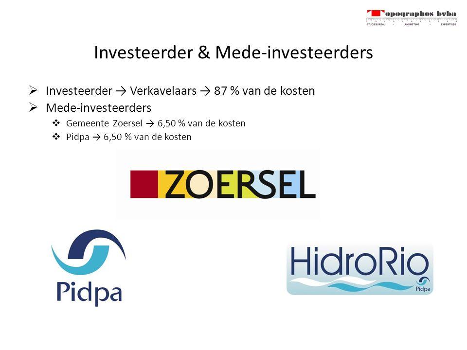 Investeerder & Mede-investeerders  Investeerder → Verkavelaars → 87 % van de kosten  Mede-investeerders  Gemeente Zoersel → 6,50 % van de kosten  Pidpa → 6,50 % van de kosten