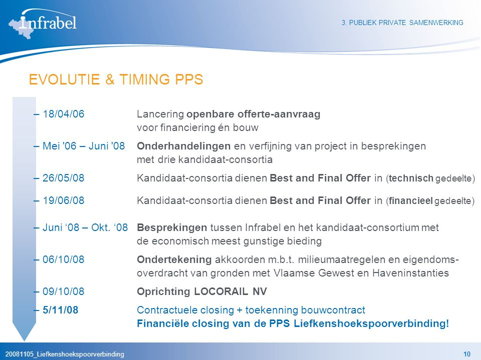 20081105_Liefkenshoekspoorverbinding10 EVOLUTIE & TIMING PPS –18/04/06Lancering openbare offerte-aanvraag voor financiering én bouw –Mei 06 – Juni 08Onderhandelingen en verfijning van project in besprekingen met drie kandidaat-consortia –26/05/08Kandidaat-consortia dienen Best and Final Offer in (technisch gedeelte) –19/06/08Kandidaat-consortia dienen Best and Final Offer in (financieel gedeelte) –Juni '08 – Okt.