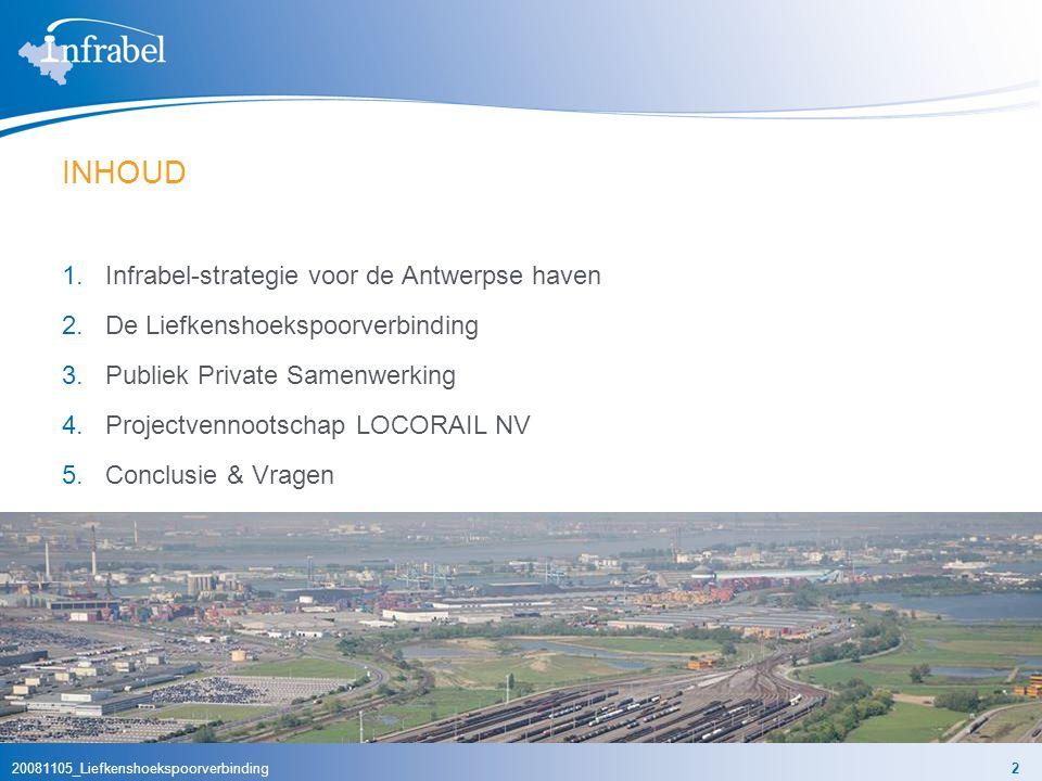 20081105_Liefkenshoekspoorverbinding3 STAPSGEWIJZE STRATEGIE VAN INFRABEL Infrabel investeert fors in competitieve en aangepaste spoorinfrastructuur in de Antwerpse haven volgens de strategie van de CONCENTRISCHE CIRKELS: 1e cirkel: efficiëntie van het goederenverkeer in de havens begunstigen vb.