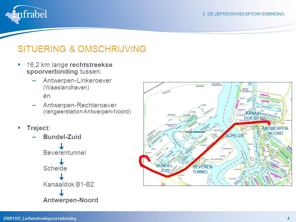 20081105_Liefkenshoekspoorverbinding5 DOEL Optimale spoorontsluiting van het Deurganckdok EN verbetering van de verkeersstromen in de Antwerpse haven  Stap 1: Deurganckdok (1e fase: 2004 – 2008 ) (2e fase: 2008 – horizon 2020 ) –Aanleg nieuwe sporen en sporenbundels (+/- 153 km extra sporen) –Uitbreiding en modernisering van de spoorinfrastructuur op Linkeroever  Stap 2: Liefkenshoekspoorverbinding (2008 – 2014 ) –Sneller en efficiënter treinverkeer tussen Deurganckdok en Antwerpen-Noord –Vermijdt omweg langs drukke knoop- punten (Kennedyspoortunnel, Berchem) 2.