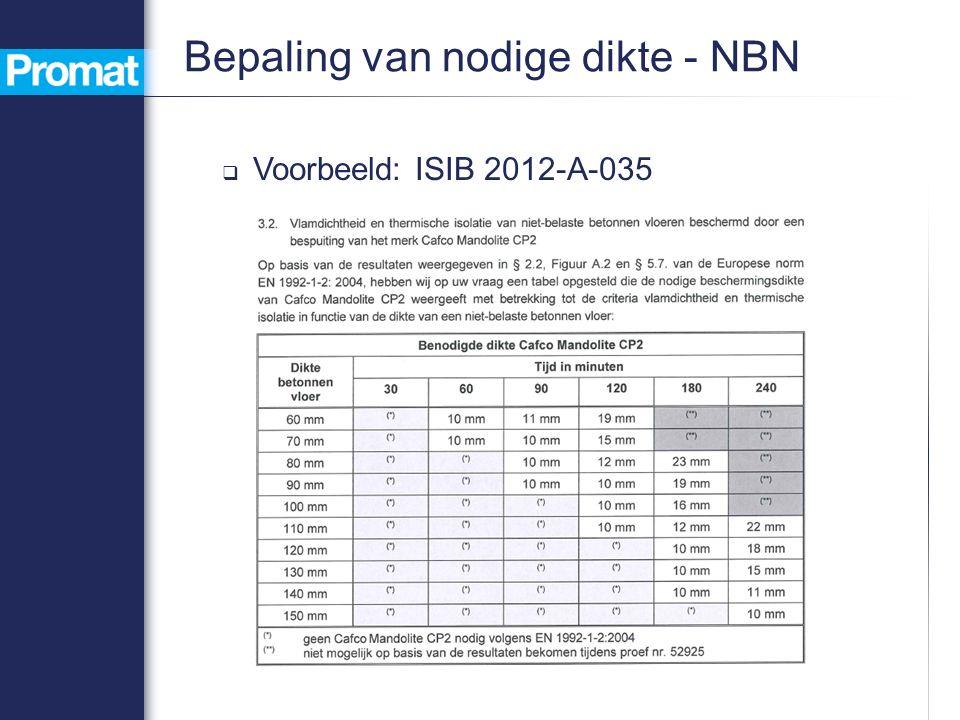  Voorbeeld: ISIB 2012-A-035 Bepaling van nodige dikte - NBN