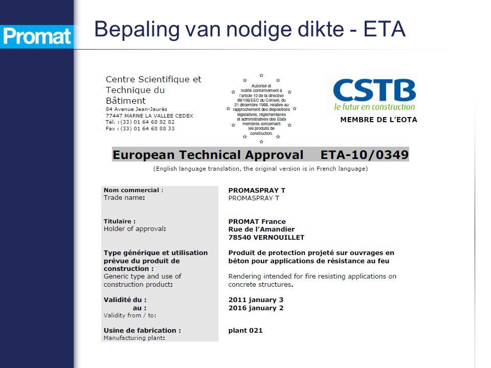 Bepaling van nodige dikte - ETA