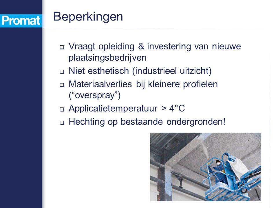 Beperkingen  Vraagt opleiding & investering van nieuwe plaatsingsbedrijven  Niet esthetisch (industrieel uitzicht)  Materiaalverlies bij kleinere profielen ( overspray )  Applicatietemperatuur > 4°C  Hechting op bestaande ondergronden!