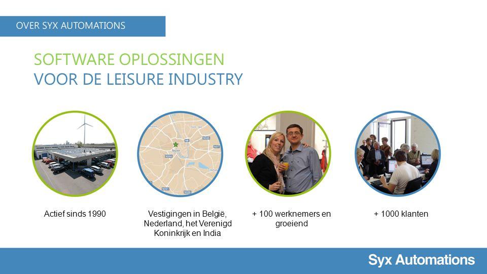 SOFTWARE OPLOSSINGEN VOOR DE LEISURE INDUSTRY Actief sinds 1990Vestigingen in België, Nederland, het Verenigd Koninkrijk en India + 100 werknemers en groeiend + 1000 klanten