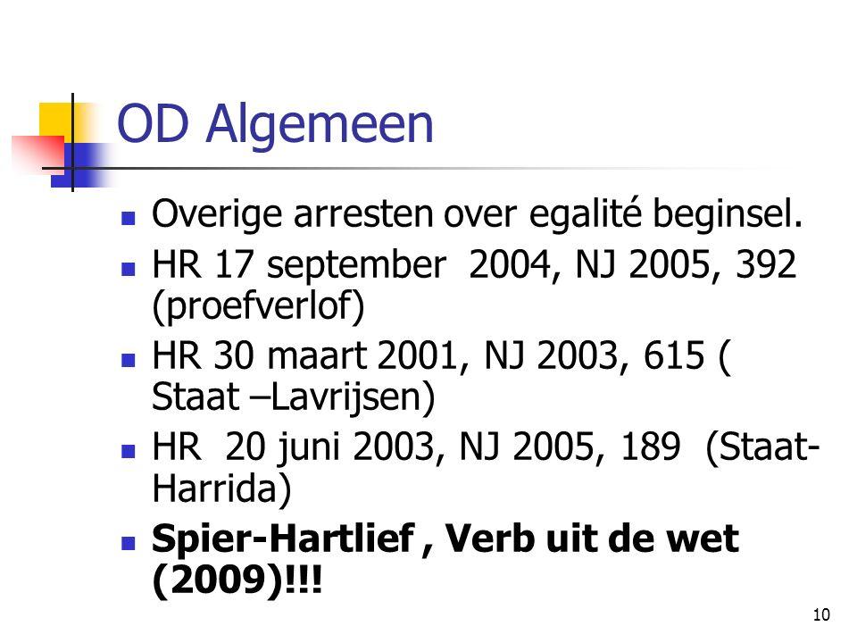 10 OD Algemeen Overige arresten over egalité beginsel.
