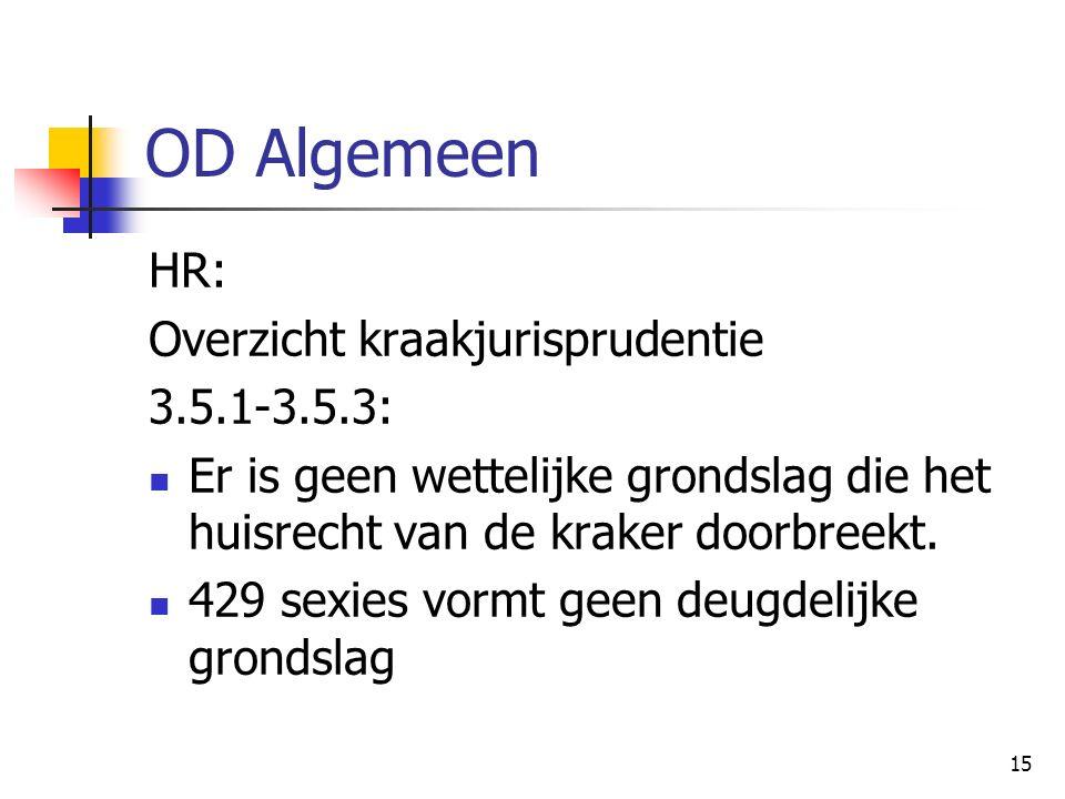 15 OD Algemeen HR: Overzicht kraakjurisprudentie 3.5.1-3.5.3: Er is geen wettelijke grondslag die het huisrecht van de kraker doorbreekt. 429 sexies v