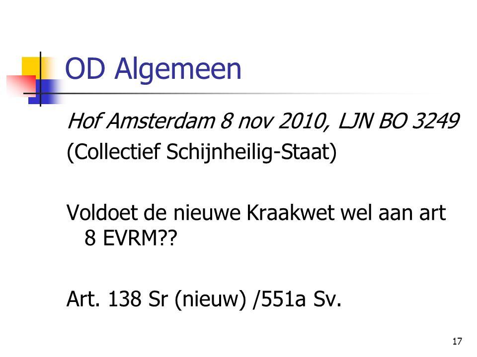 17 OD Algemeen Hof Amsterdam 8 nov 2010, LJN BO 3249 (Collectief Schijnheilig-Staat) Voldoet de nieuwe Kraakwet wel aan art 8 EVRM?? Art. 138 Sr (nieu